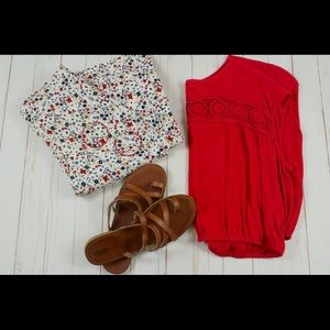Red crop top with crochet detail
